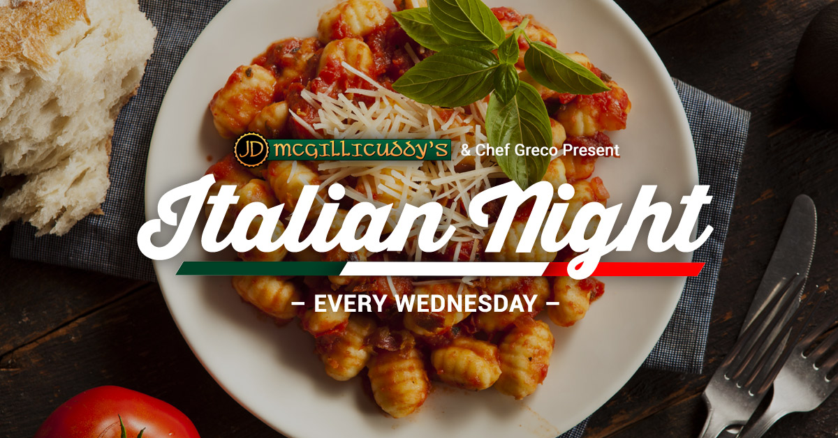 Italian Night at J.D. McGillicuddy's with Chef Greco